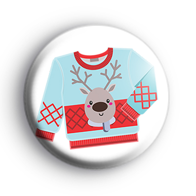 Ugly Blue Reindeer Christmas Jumper Badge