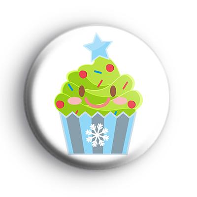 Festive Cupcake Xmas Tree Badge