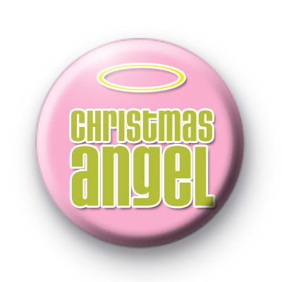 Pink Christmas Angel Button Badge
