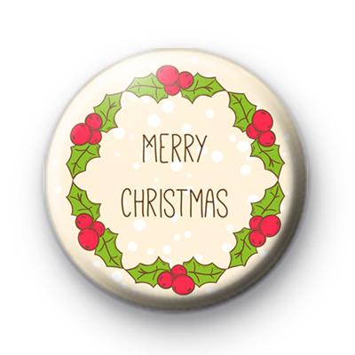 Classic Festive Merry Christmas Button Badge