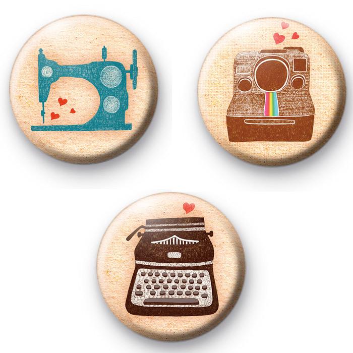 Set of 3 Old School Geek Badges