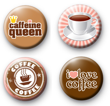 Set of 4 Coffee Lover Button Badges