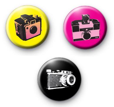 Set of 3 Colourful Retro Camera Badges