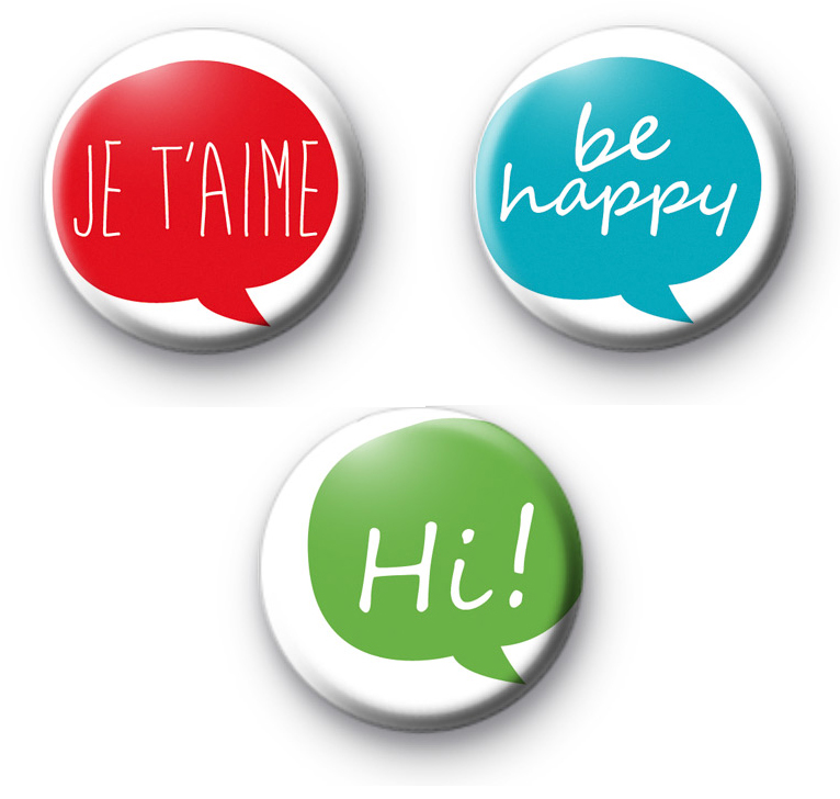 Set of 3 Colourful Positive Text Badges