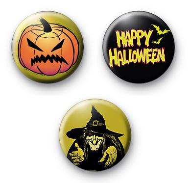 Set of 3 Evil Halloween Badges