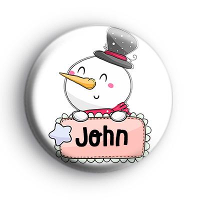 Custom Christmas Snowman Name Badge