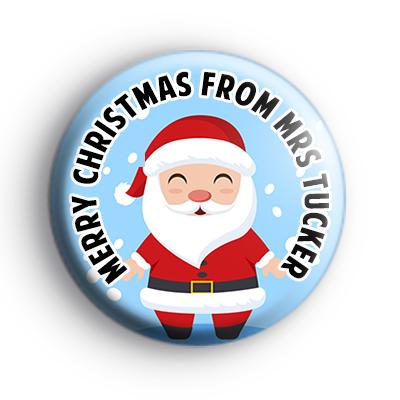 Personalised Santa Merry Christmas Badge