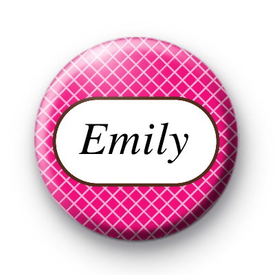 Bright Pink Check Custom Name Badge