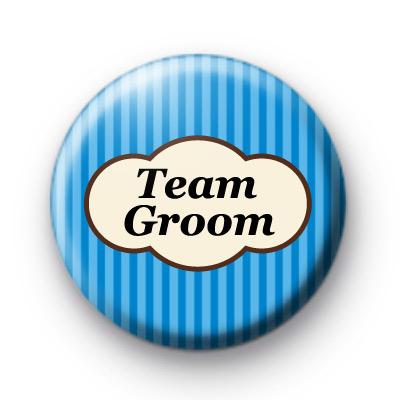 Bright Blue Stripey Team Groom Badges