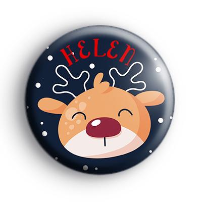 Custom Cute Rudolph Reindeer Name Badge