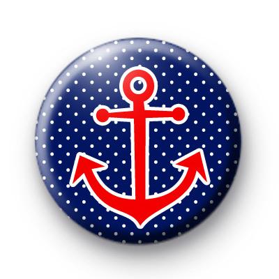 Cute Red Anchor Button Badge
