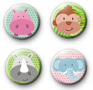 Set of 4 Super Cute Animal Button Badges
