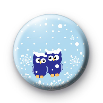 Cute Blue Festive Owls Badges