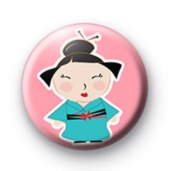 Cute Blue Oriental Girl Badge