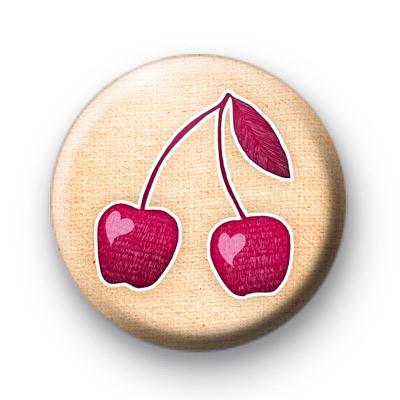 Love Heart Pink Cherries Button Badges