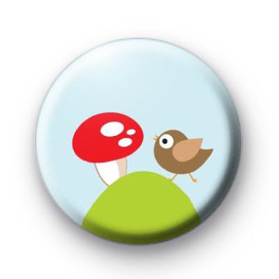 Woodland Mushroom & Cute Bird Badge