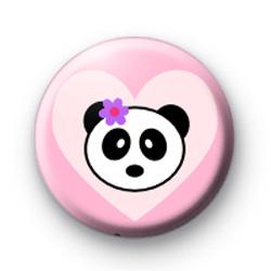 Cute Panda Pink Heart Badge