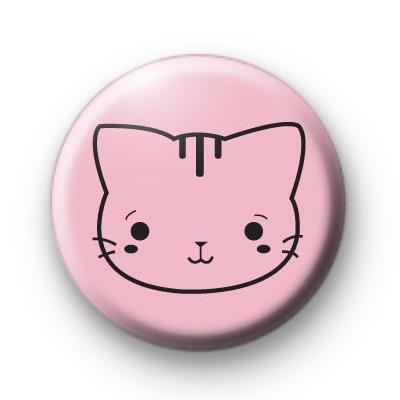Cute Fun Pink Cat Badges