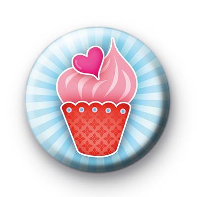 Pink Love Heart Cupcake Badge