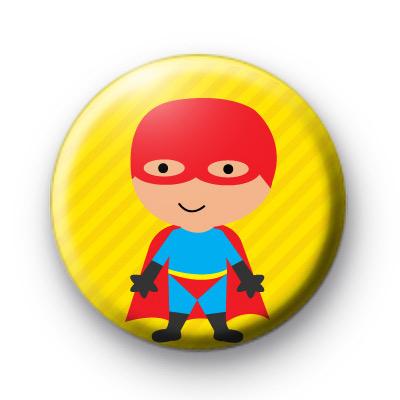 Cute Red Superhero Button Badges