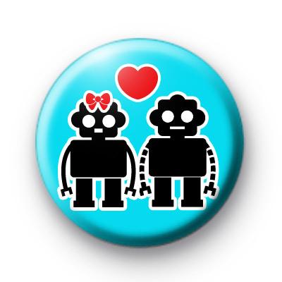 Cute Robot Love Button Badges
