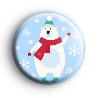 Snowflake Happy Polar Bear Badge