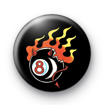8 Ball Devil Flames Badge