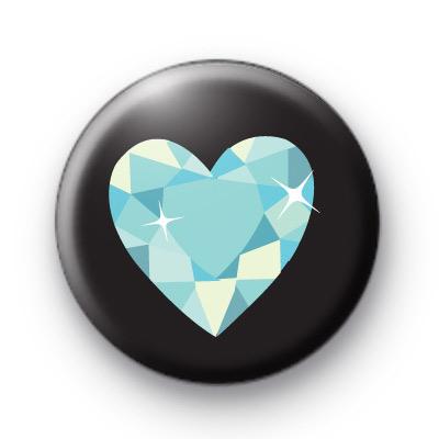 Diamond Love Heart Button Badges
