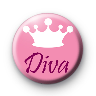 Pink Diva Crown Pin Badge