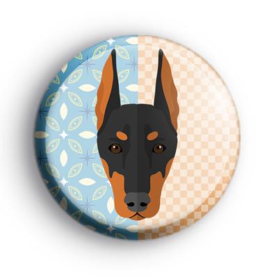 Dobermann Dog Button Badge