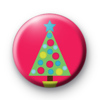 Dotty Spotty Christmas Tree Pink Badge