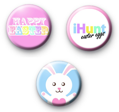 Set of 3 Easter Bunny Button Badges