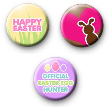 Set of 3 Easter Button Badges