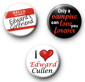 Set 3 Edward Cullen Badges