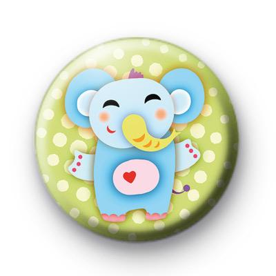 Cute Love Heart Elephant Badge