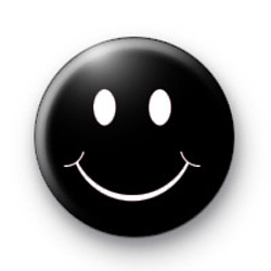 Black Emo Smiley Face Badges