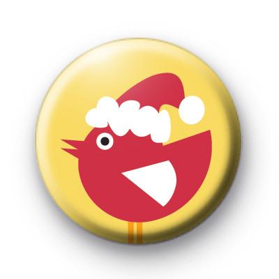 Festive Red Bird Button Badge