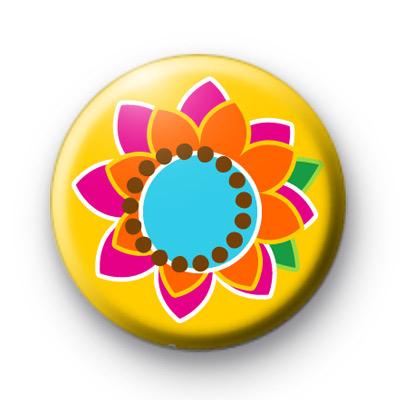 Funky Bright Retro Flower badges