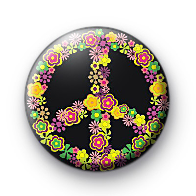 Bright Floral Peace Sign Badges