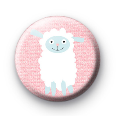 Fluffy White Sheep Easter Badge