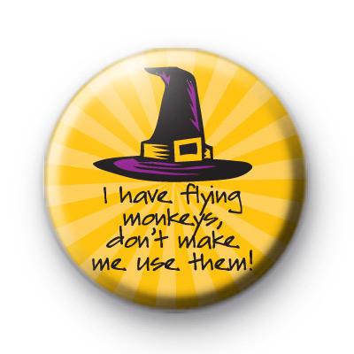 Flying Monkeys Yellow Halloween Badges