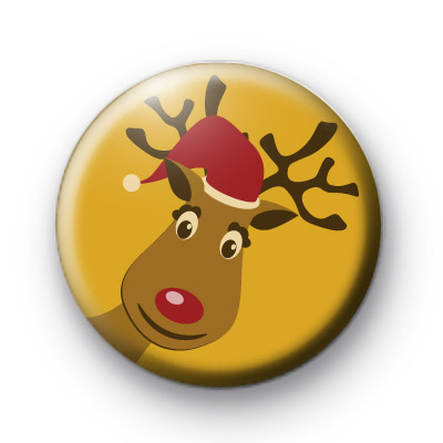 Cute Fun Rudolph Badge