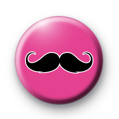 Cute Pink and Black Moustache badges