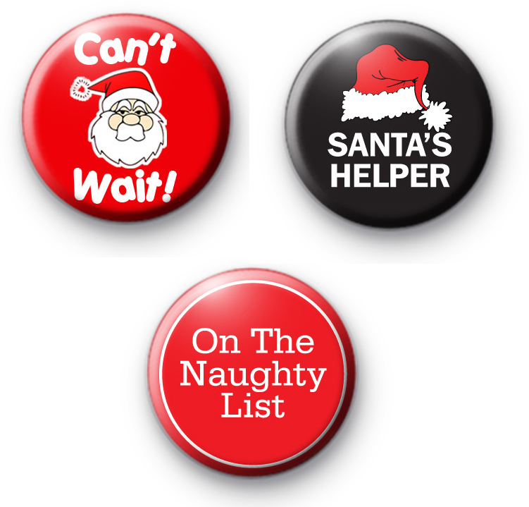 Set of 3 Funny Festive Badges