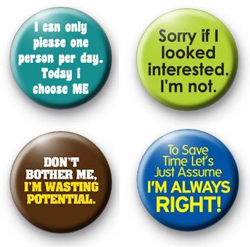Set of 4 Funny Slogan Button Badges