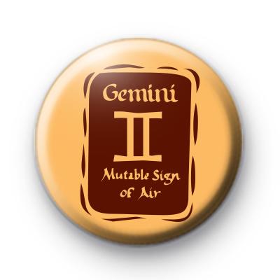 Zodiac Symbol Gemini Button Badge