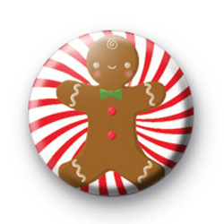 Gingerbread Candy Spiral Button Badge