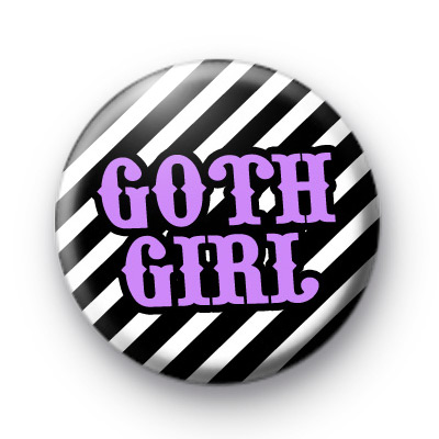Purple Goth Girl Button Badge