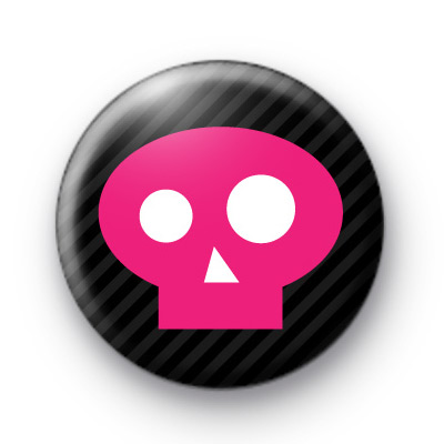 Lovely Pink Skull Button Badges