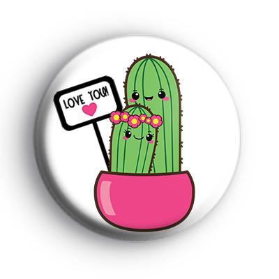 Green Cactus Love You Badge
